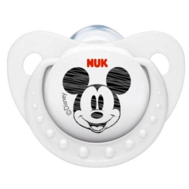 Trendline Disney Mickey Πιπίλα Σιλικόνης με Κρίκο Λευκή Μεγέθους 1 (0-6 Μηνών) 1τμχ - Nuk
