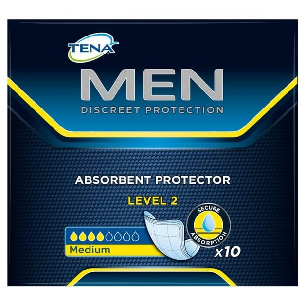 Tena Men Absorbent Protector Level 2 Διακριτική και Ασφαλής Προστασία για την Αντρική Μέτριας Μορφής Ακράτεια 10τμχ