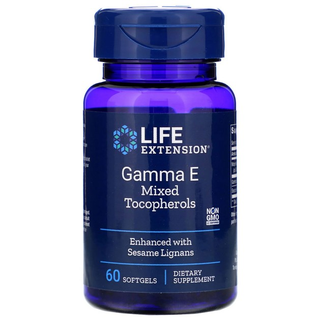 Life Extension Gamma Ε Mixed Tocopherol With Sesame Lignans Συμπλήρωμα Διατροφής Βιταμίνης Ε 60soft.gels
