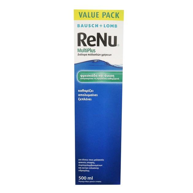 Bausch & Lomb Renu Multiplus Value Pack Διάλυμα Πολλαπλών Χρήσεων που Παρέχει Άνεση Ίδια με Αυτή των Νέων Φακών 500ml