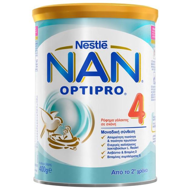 Nestle NAN Optipro 4 Ρόφημα Γάλακτος σε Σκόνη Εμπλουτισμένο με Βιταμίνες & Μέταλλα, Κατάλληλο Από τον 2ο Χρόνο 400gr