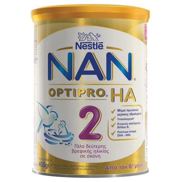 Nestle NAN Optipro HA 2 Υποαλλεργικό Γάλα σε Σκόνη για Βρέφη, Κατάλληλο Από τον 6ο Μήνα 400gr