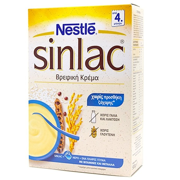 Nestle Sinlac Βρεφική Κρέμα Χωρίς Γάλα, Κατάλληλη Από τον 4ο Μήνα 500gr