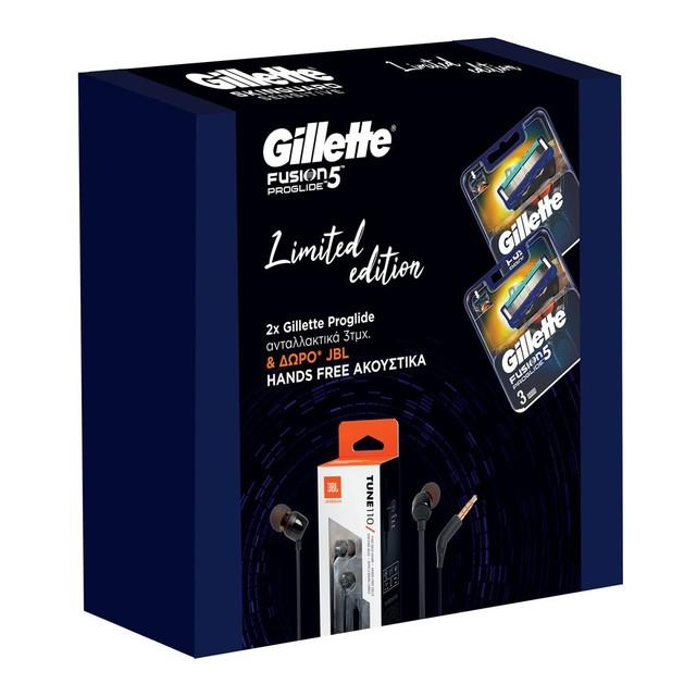 Gillette Limited Edition Fusion Proglide Ανταλλακτικά 2x3 Τεμάχια & Δώρο JBL Hands Free Ακουστικά