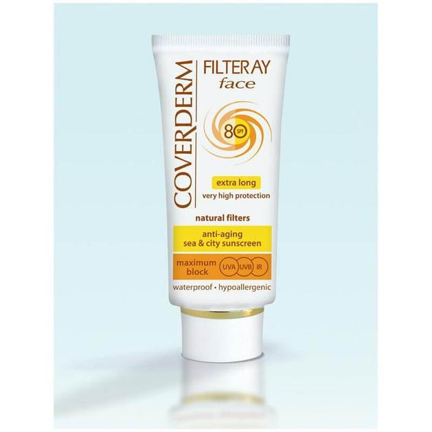 Coverderm Filteray Face Spf80 Tinted - Αντηλιακή Κρέμα Προσώπου με Χρώμα, για Όλους Τύπους 50ml