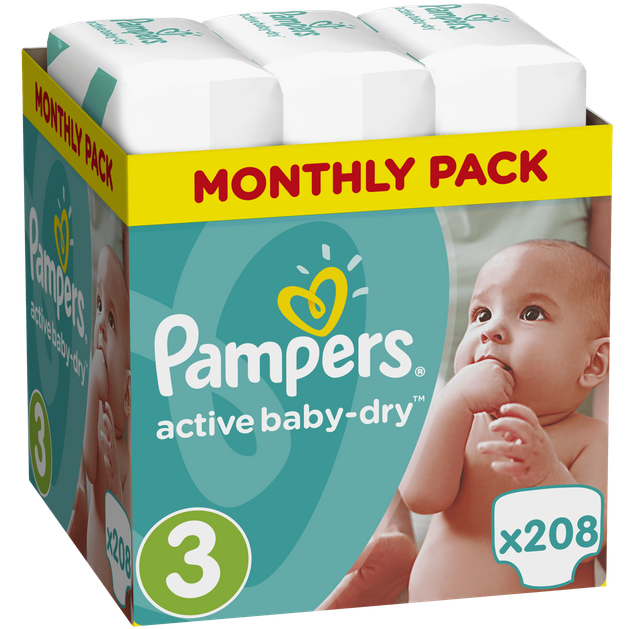 Pampers Active Baby Dry Monthly Pack No3 (5-9kg) 208 πάνες, μόνο 0,14€ / πάνα