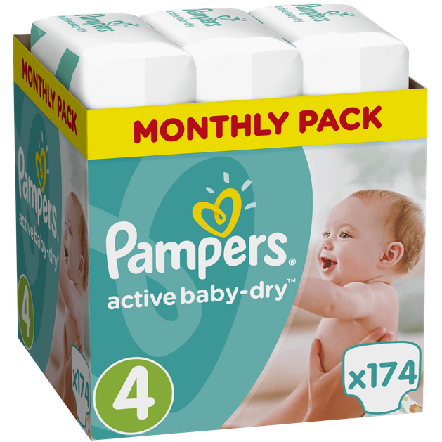Pampers Active Baby Dry Monthly Pack No4 Maxi (8-14kg) 174 πάνες, μόνο 0,17€ / πάνα