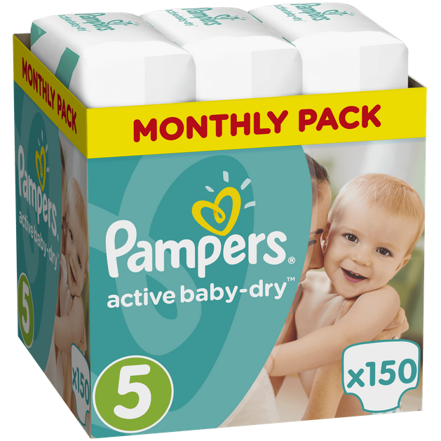 Pampers Active Baby Dry Monthly Pack No5 (11-18kg) 150 πάνες, μόνο 0,20€ / πάνα