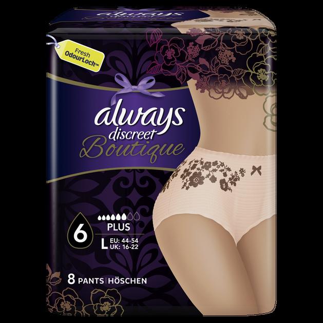 Always Discreet Boutique Pants Εσώρουχο για την Ακράτεια No 6 Plus Large 44-54 Peach 8 Τεμάχια