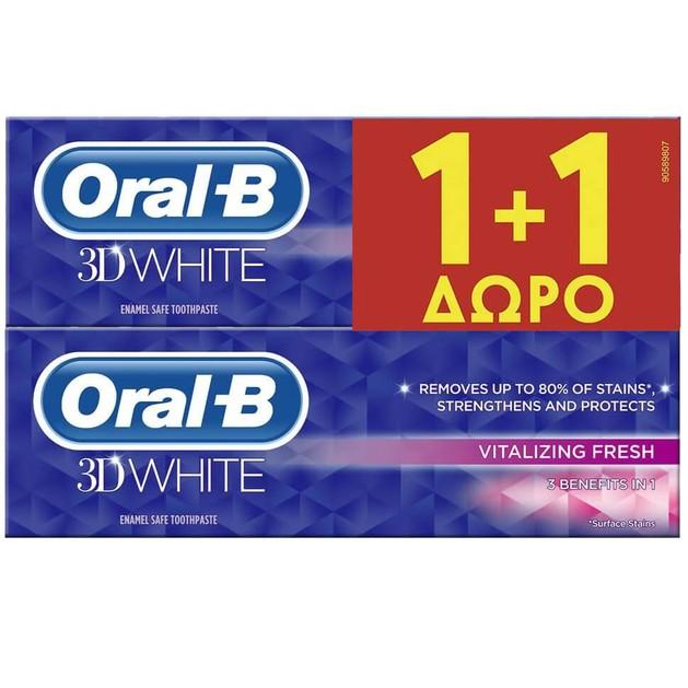 3D White Vitalizing Fresh Toothpaste 2 x 75ml - Oral-B