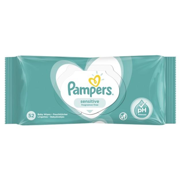 Pampers Sensitive Baby Wipes Μωρομάντηλα Ιδανικά για την Ευαίσθητη Επιδερμίδα 52 Baby Wipes