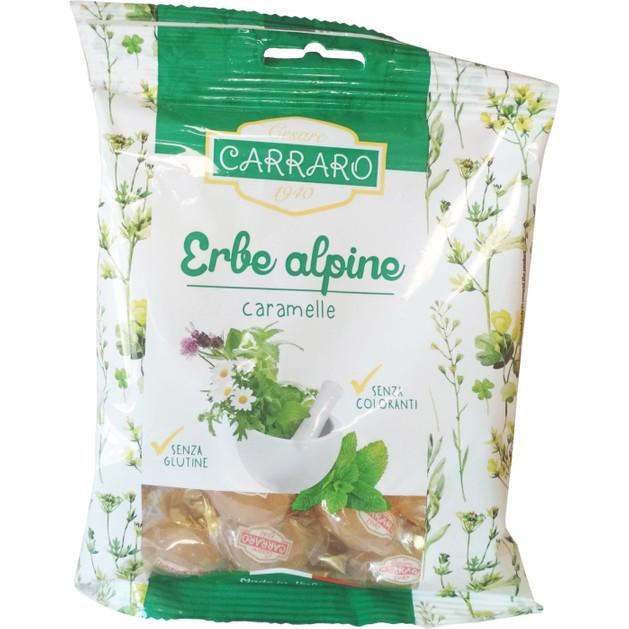 Carraro Caramelle Erbe Alpine Καραμέλες για το Λαιμό με Αλπικά Βότανα 100gr