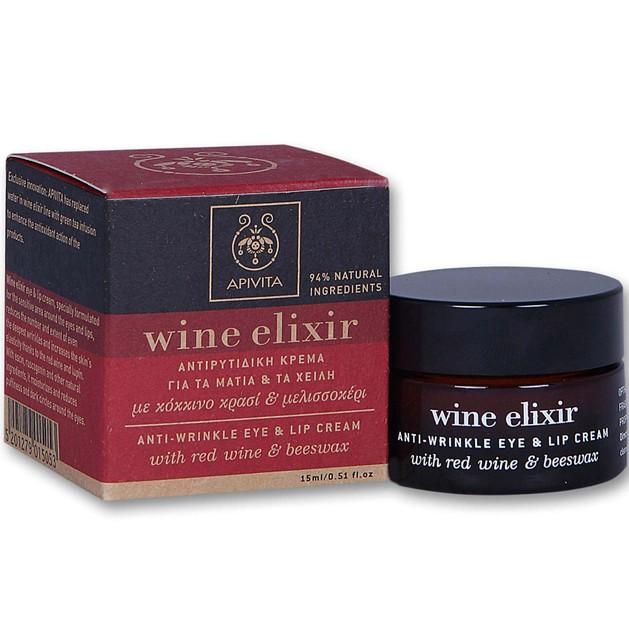 Wine Elixir Anti-Wrinkle Eye & Lip Cream 15ml Promo -20% - Apivita