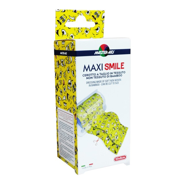 Master Aid Maxi Smile Παιδικό Αυτοκόλλητο Ρολό Συνεχούς Γάζας 50x8cm