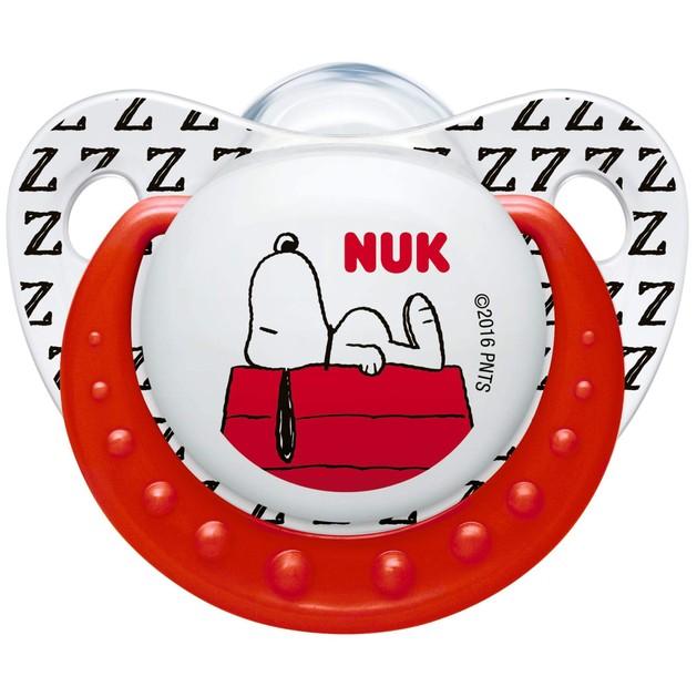 NukTrendline SnoopyPeanuts Πιπίλα Σιλικόνης με Κρίκο Χωρίς BPA Κόκκινο