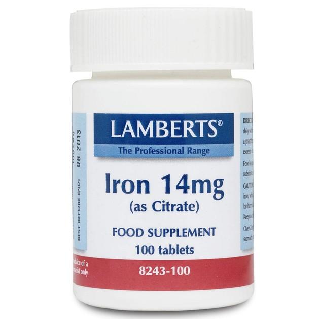 Lamberts Iron 14mg (as Citrate) 100 tabs