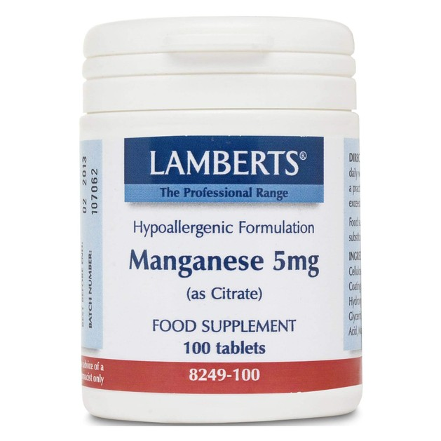 Lamberts Manganese(as citrate) 5 mg 100 tabs