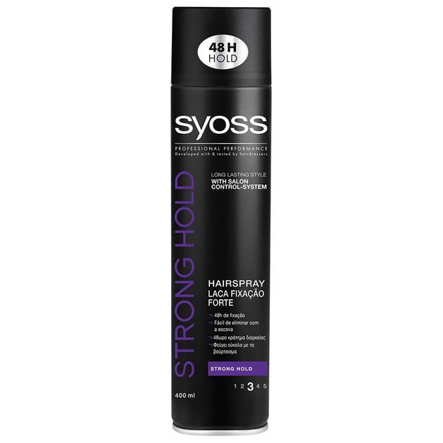 Syoss Hairspray Strong Επαγγελματικό Δυνατό Κράτημα 48ωρης Διάρκειας για Μαλλιά Ανάλαφρα Χωρίς να Βαραίνουν 400ml
