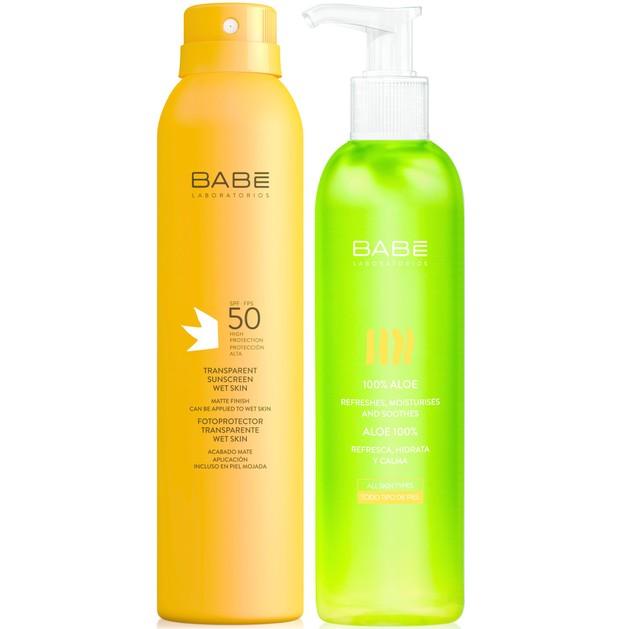 Babe Sun Πακέτο Προσφοράς Transparent Body Sunscreen Spf50 Wet Skin 200ml & Δώρο 100% Aloe Gel Αλόης για Άμεση Ενυδάτωση 300ml