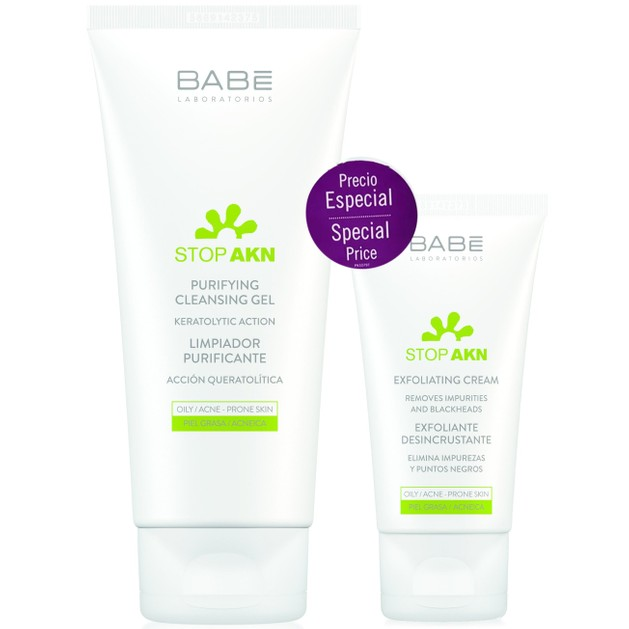 Babe Πακέτο Προσφοράς Stop Akn Purifying Cleansing Gel 200ml & Stop Akn Exfoliating Cream 50ml σε Ειδική Τιμή
