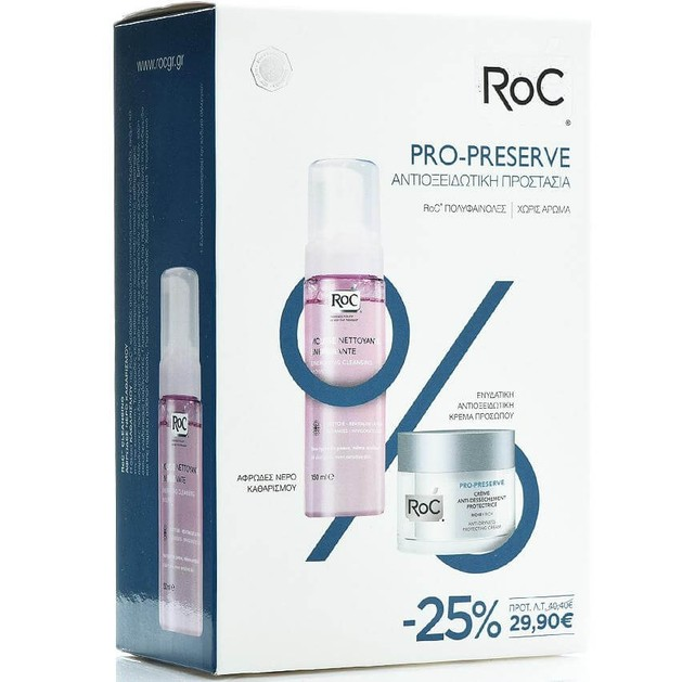 Roc Pro-Preserve Anti-Dryness Protecting Ενυδατική Κρέμα Πλούσιας Υφής 50ml & Mousse Nettoyant Νερό Καθαρισμού 150ml Promo-25%