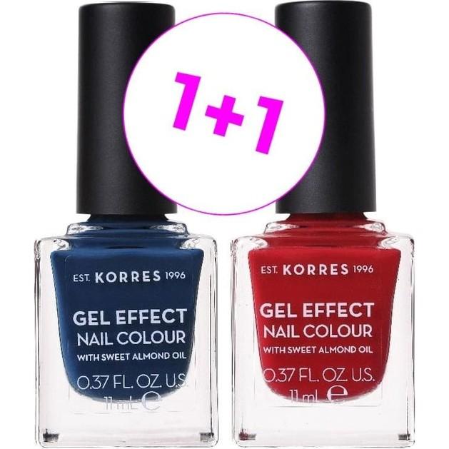 Korres Gel Effect Nail Colour No.84 Indigo Blue & No.56 Celebration Red