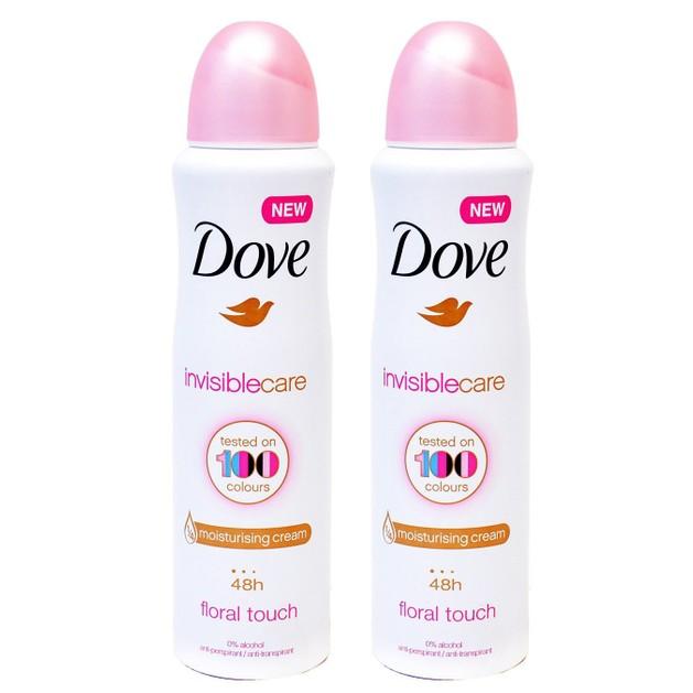 Dove Πακέτο Προσφοράς Invisible Care 48h Floral Touch Αποσμητικό 48ωρης Αντιιδρωτικής Προστασίας Χωρίς Λευκά Σημάδια 2x150ml