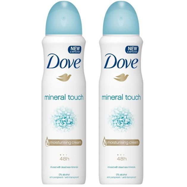 Dove Πακέτο Προσφοράς Mineral Touch 48h Spray Αποσμητικό Spray με 1/4 Ενυδατική Κρέμα, 2x150ml 1+1 Δώρο