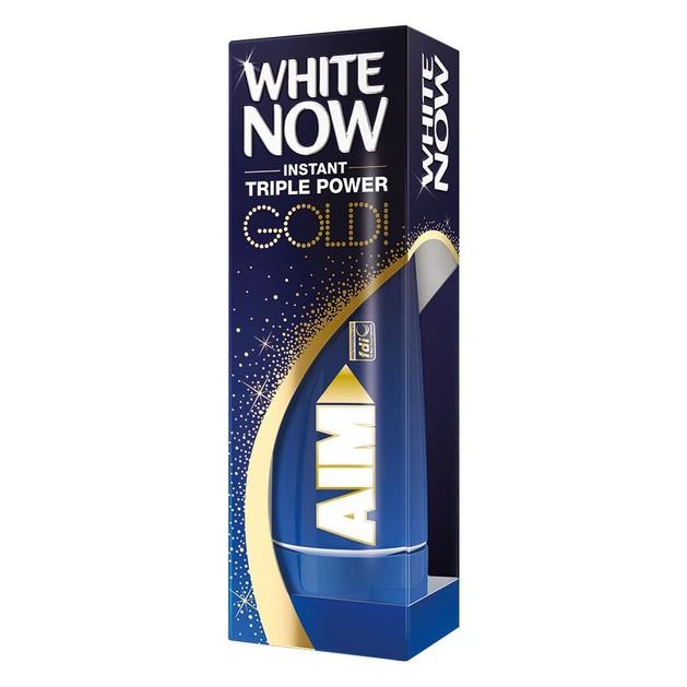 Aim White Now Gold Οδοντόκρεμα για Άμεσα Λευκότερα Δόντια Μετά από Ένα Μόνο Βούρτσισμα 50ml