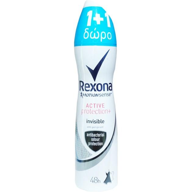Rexona Πακέτο Προσφοράς Deodorant Spray Active Protection Invisible 48h Αποσμητικό Spray 2x150ml 1+1 Δώρο