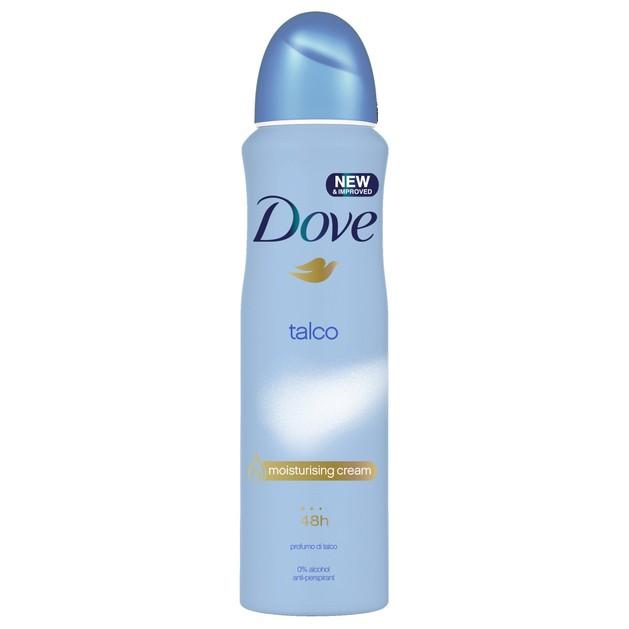 Dove Deo Spray Talco 48h Αποσμητικό 48ωρης Αντιιδρωτικής Προστασίας  με Ευχάριστο Άρωμα Πούδρας 150ml