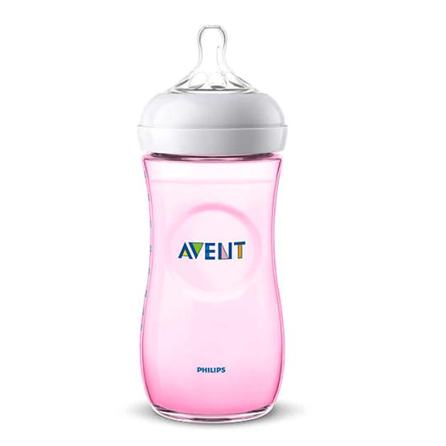Avent  Natural Μπιμπερό για Φυσικό Τάισμα με Θηλή Γρήγορης Ροής 6m+ Χρώμα Ροζ 330ml SCF037/17