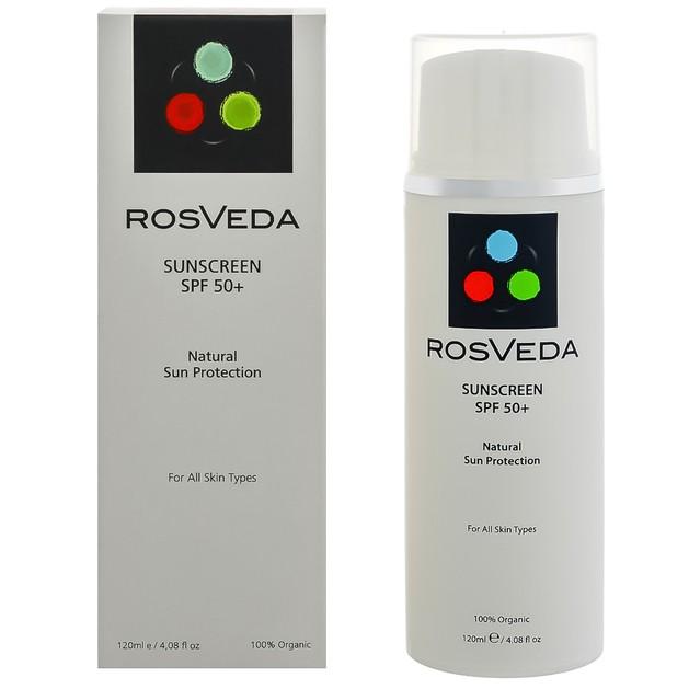 RosVeda Sunscreen Spf50+ 100% Φυτική Σύνθεση Αντηλιακής Κρέμας Προσώπου Σώματος Πολύ Υψηλής Προστασίας 120ml