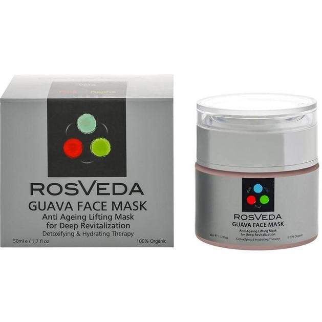 RosVeda Guava Mask 100% Φυτική Σύνθεση Απορρόφησης, Απομάκρυνσης της Περίσσειας του Σμήγματος, Αντιγηραντική Μάσκα Προσώπου 50ml