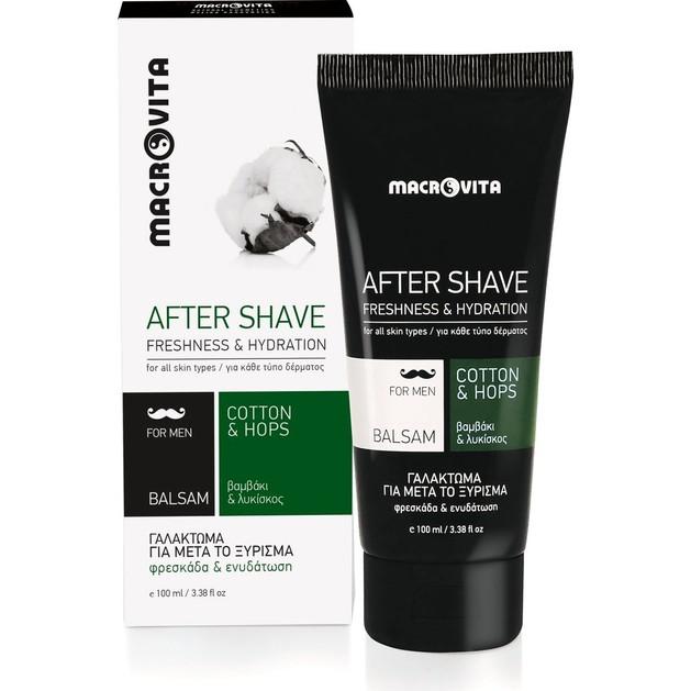 Macrovita After Shave Balsam Γαλάκτωμα για Μετά το Ξύρισμα με Βαμβάκι & Λυκίσκο 100ml