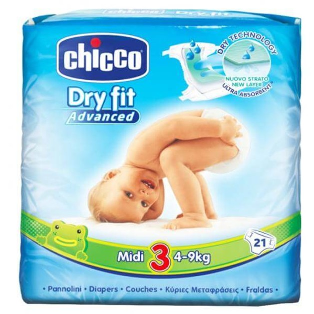 Chicco Dry Fit Νo3 (4-9kg) 21 πάνες, μόνο 0,28€ / πάνα