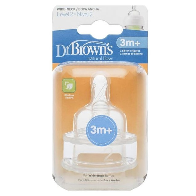 Dr. Brown\'s Natural Flow 3m+ Θηλή Σιλικόνης με Φαρδύ Λαιμό Επίπεδο 2, 2 Τεμάχια (372)