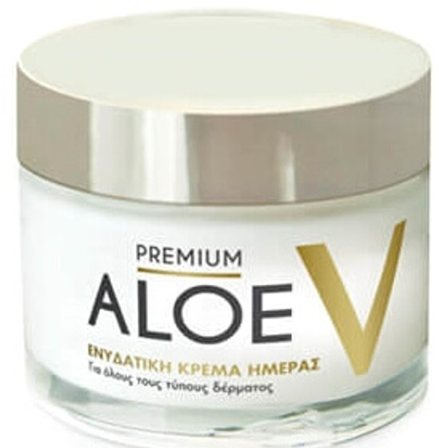 Premium Aloe V Ενυδατική Κρέμα Προσώπου Ημέρας για Όλους τους Τύπους Δέρματος 50ml