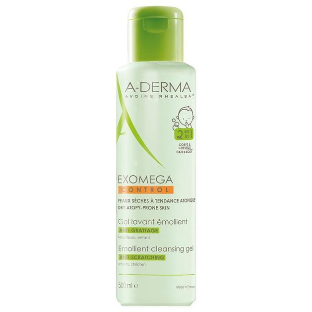 A-Derma Exomega Control Gel Lavant Emollient 2 en 1 Ενυδατικό Ζελ Καθαρισμού για Ατοπικό - Ξηρό Δέρμα για Σώμα & Μαλλιά 500ml