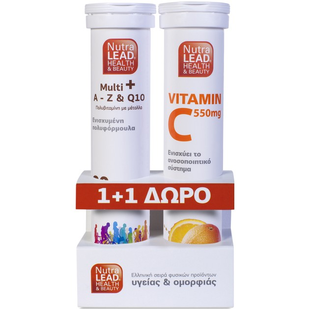 Multi+ A to Z & Q10 20Αναβρ. Δισκία + Βιταμίνη C 550mg  20Αναβρ. Δισκία - NutraLead
