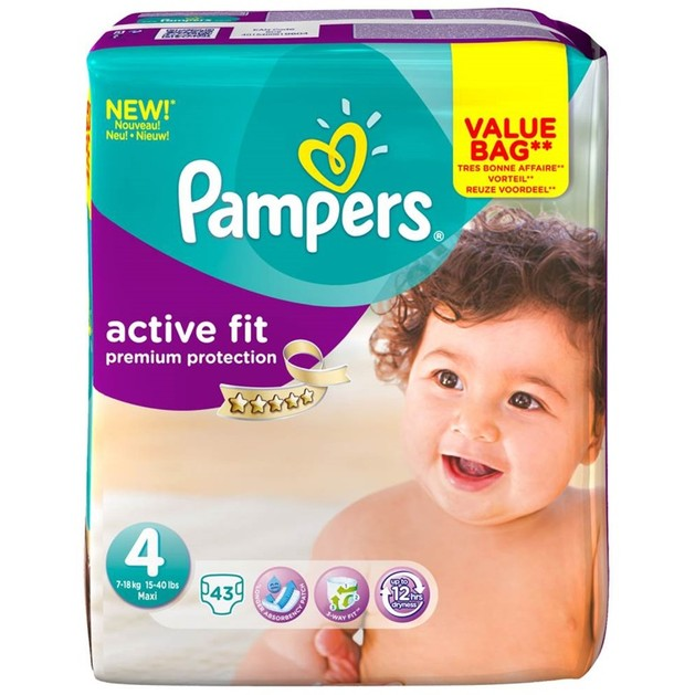 Pampers Active Fit Premium Protection Νο4 Maxi (8-16kg), 43 πάνες