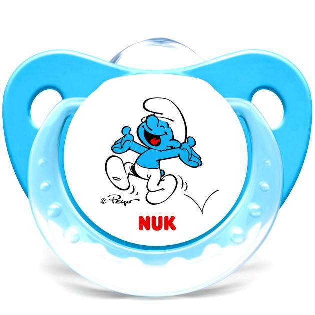 Nuk Trendline The SmurfsΠιπίλα Σιλικόνης με Κρίκο Χωρίς BPA σε Μπλε Χρώμα