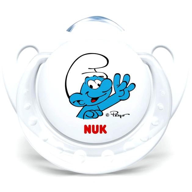 Nuk Trendline The Smurfs Πιπίλα Σιλικόνης με Κρίκο Χωρίς BPA σε Λευκό Χρώμα