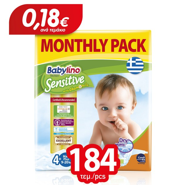 Babylino Sensitive Monthly Pack Maxi Plus Νο4+ (9-20kg) Βρεφικές Πάνες 184 τεμάχια