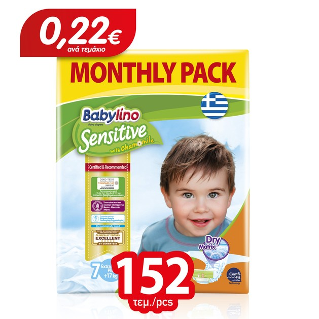 Babylino Sensitive Monthly Pack Extra Large Plus Νο7 (17+ kg) Παιδικές Πάνες 152 τεμάχια