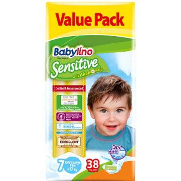 Babylino Sensitive Value Pack Extra Large Plus Νο7 (17+ kg) Παιδικές Πάνες 38 τεμάχια