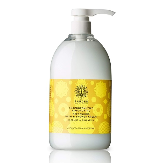 Garden of Panthenols Refreshing Bath & Shower Cream Coconut & Pineapple Αναζωογονητικό Αφρόλουτρο 1Lt