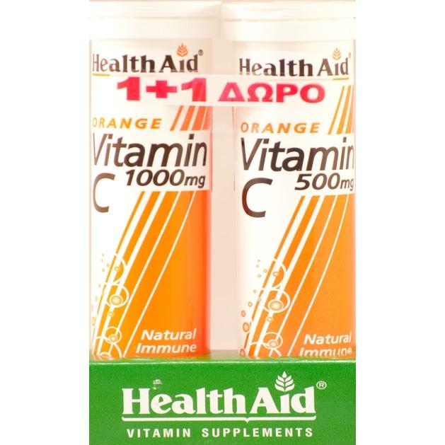 Health Aid VitaminC 1000mg Πορτοκάλι 20 Αναβρ.Δισκία + Δώρο Vitamin C 500mg Πορτοκάλι 20 Αναβρ.Δισκία
