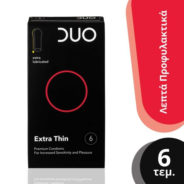 Duo Extra Thin Λεπτό Προφυλακτικό Για Μεγαλύτερη Αίσθηση Και Ευχαρίστηση 6τεμ