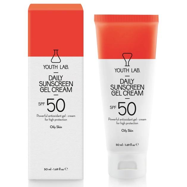 YOUTH LAB. Daily Sunscreen Gel Cream Spf50 Oily Skin, Έγχρωμη Αντηλιακή Κρέμα για Λιπαρές Επιδερμίδες 50ml